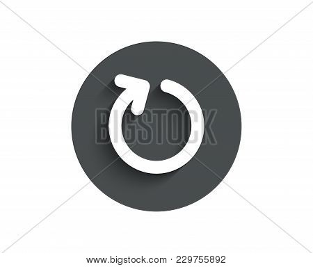 Loop Arrow Simple Icon. Refresh Arrowhead Symbol. Navigation Pointer Sign. Circle Flat Button With S