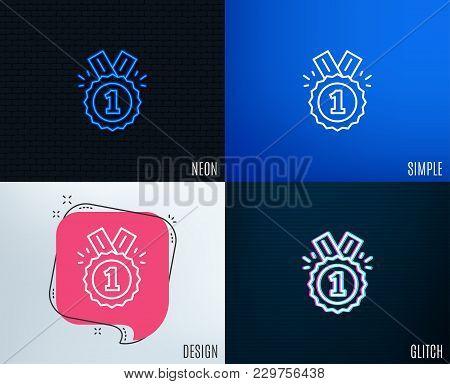 Glitch, Neon Effect. Reward Medal Line Icon. Winner Achievement Or Award Symbol. Glory Or Honor Sign