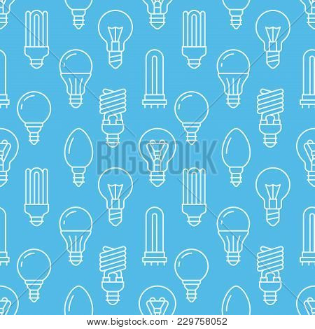 Light Bulbs Blue Seamless Pattern With Flat Line Icons. Led Lamps Types, Fluorescent, Filament, Halo