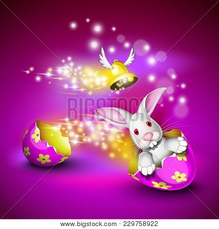 Funny bunny driving a decorated egg shell over a pruple background