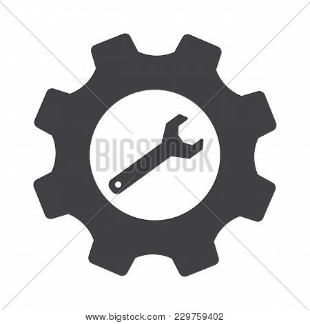 Gray Cogwheel Setting And Wrench Vector. Settings Icon.