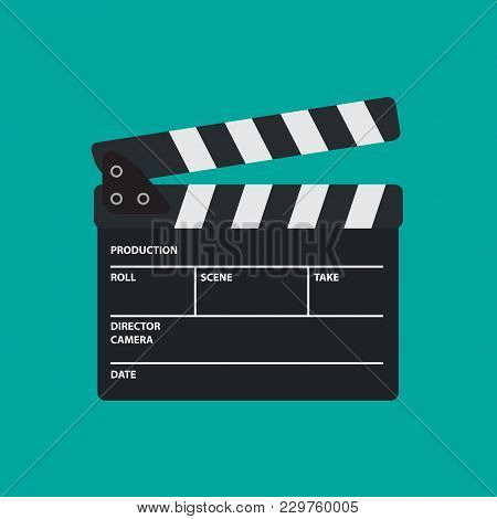 Movie Slate Or Clapper Board For Movie, Cinema, Film Director And Film Making Device. Flat Vector Il