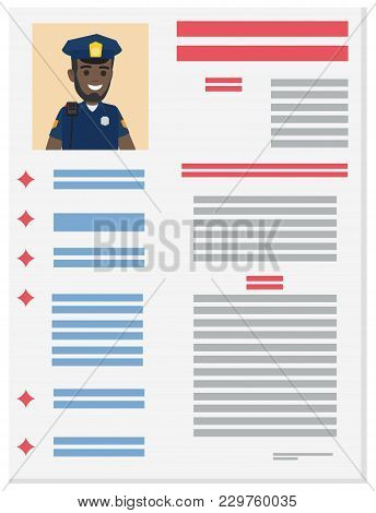 Career Information Leaflet Flat Vector. Policeman Resume Page With Applicant Portrait And Personal D
