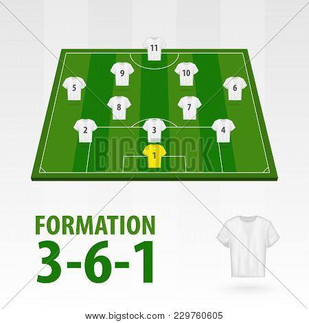 Football Players Lineups, Formation 3-6-1. Soccer Half Stadium.