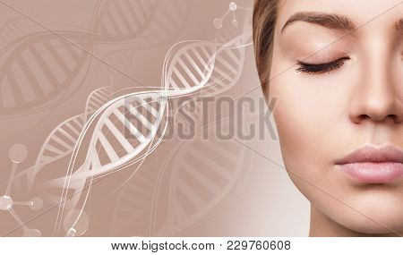 Portrait Of Sensual Woman Among White Dna Chains. Over Beige Background.