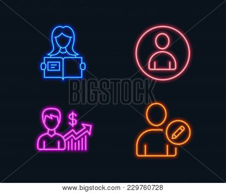 Neon Lights. Set Of Business Growth, Avatar And Woman Read Icons. Edit User Sign. Earnings Results,