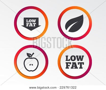 Low Fat Arrow Icons. Diets And Vegetarian Food Signs. Apple With Leaf Symbol. Infographic Design But