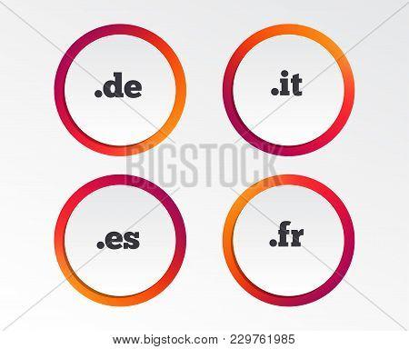 Top-level Internet Domain Icons. De, It, Es And Fr Symbols. Unique National Dns Names. Infographic D