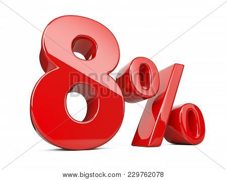 Eight Red Percent Symbol. 8% Percentage Rate. Special Offer Discount. 3d Illustration Isolated Over