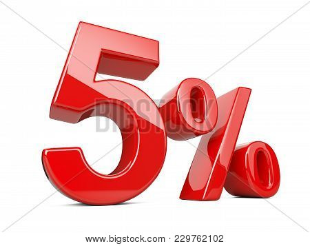 Five Red Percent Symbol. 5% Percentage Rate. Special Offer Discount. 3d Illustration Isolated Over W