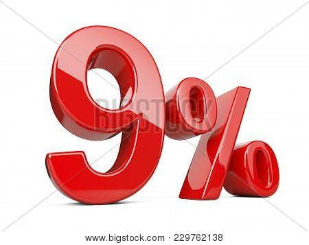 Nine Red Percent Symbol. 9% Percentage Rate. Special Offer Discount. 3d Illustration Isolated Over W