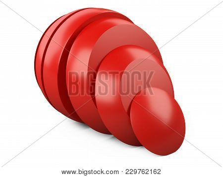 Abstract Red Sphere Slice Into Pieces And Shift. Cut Steel Ball. 3d Illustration Over White Backgrou