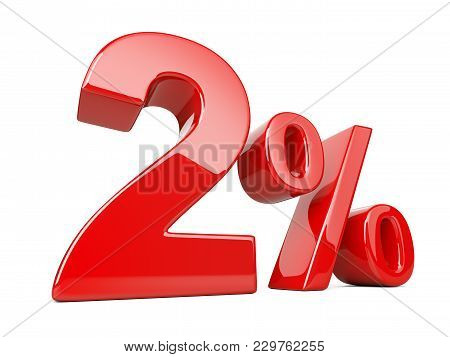 Two Red Percent Symbol. 2% Percentage Rate. Special Offer Discount. 3d Illustration Isolated Over Wh