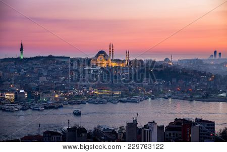 Istanbul, Turkey - March 18: Night View Of Istanbul Downtown With Mosque On March 18, 2014 In Istanb