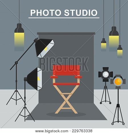 Photo And Video Porodaction Studio Poster Template. Equipment For Photo Studio, Production Of Films
