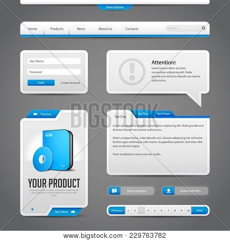 Web Ui Controls Elements Gray And Blue On Dark Background:  Input Area, Search, Scroll, Download, To