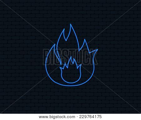 Neon Light. Fire Flame Sign Icon. Fire Symbol. Stop Fire. Escape From Fire. Glowing Graphic Design.