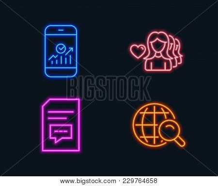 Neon Lights. Set Of Smartphone Statistics, Woman Love And Comments Icons. Internet Search Sign. Mobi