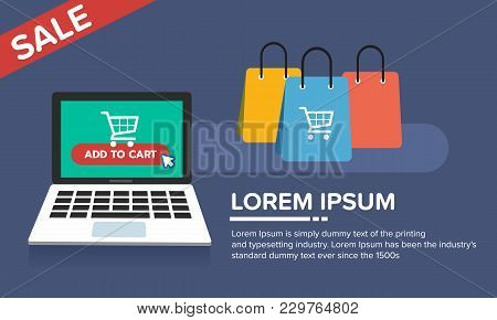 Online, Shopping, Store, Flat, Icon, Shop, Vector, Laptop, Internet, Sale, Retail, Concept, Business
