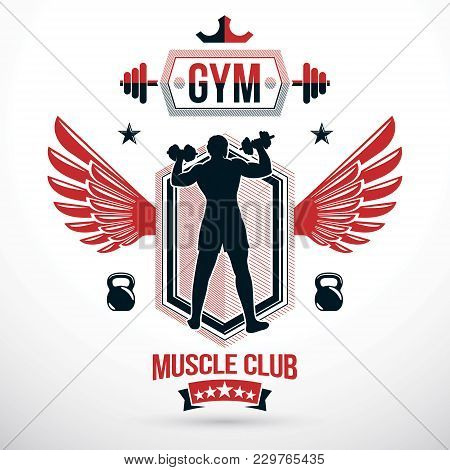 Vector Winged Symbol Composed Using Muscular Athlete Holding Dumbbells And Kettle Bell Sport Equipme