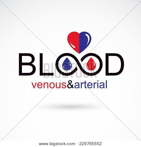 Arterial And Venous Blood, Blood Circulation Conceptual Vector Illustration. Healthy Lifestyle Conce