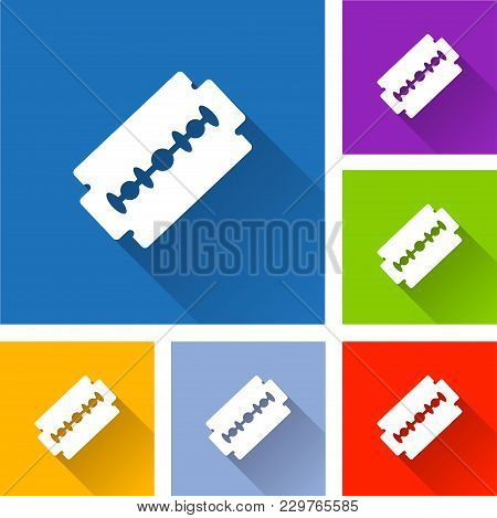 Illustration Of Razor Blade Icons With Shadow