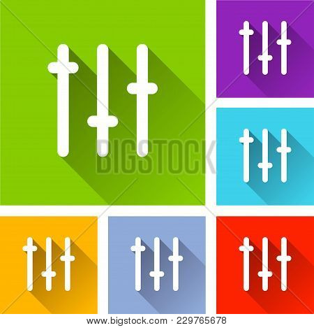 Illustration Of Sliders Icons With Long Shadow