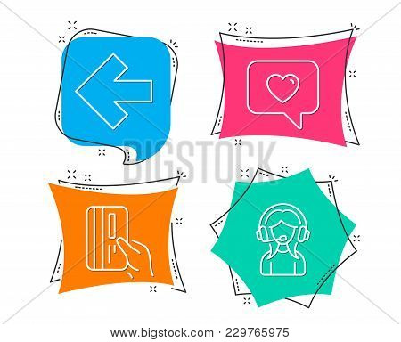 Set Of Left Arrow, Love Message And Payment Card Icons. Support Sign. Direction Arrow, Dating Servic