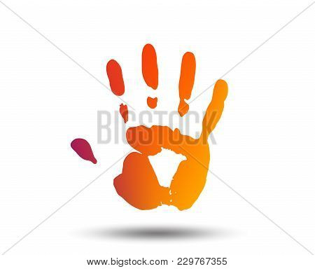 Hand Print Sign Icon. Stop Symbol. Blurred Gradient Design Element. Vivid Graphic Flat Icon. Vector