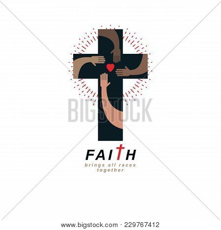 True Belief And Religion Brings People Together. Christian Cross True Belief In God Vector Symbol, C