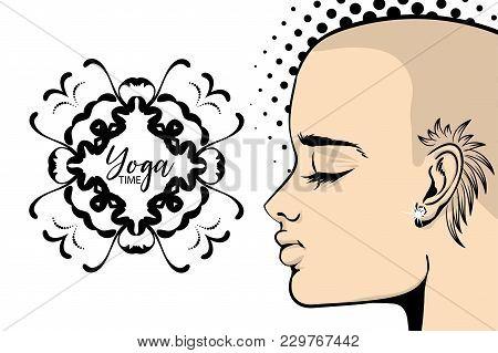 Bold Tattoo Woman Yoga Banner Pop Art. Calm Vector Illustration. India Mehendi Pattren. Wow Girl  Fa