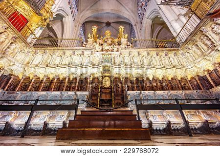 Toledo, Spain - March 17, 2015: The Main Choir In The Interior Of The Cathedral Of Saint Mary In Tol