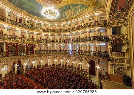 Manaus, Brazil - August 9, 2014: The Interior Of The Famous Theater Building In Manaus, Brazil