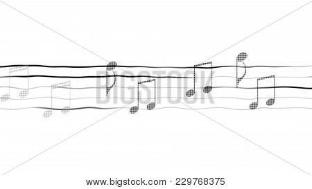 Abstract Illustration Of Music Notes On Sheet, Composing App, White Background, Stock Footage