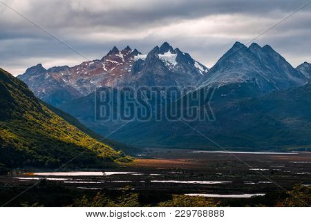 Mountains and valley near the city of Ushuaia, Tierra del Fuego, Argentina