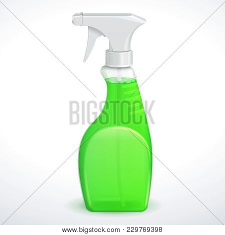 Spray Pistol Cleaner Plastic Bottle White With Green  Liquid Transparent. Eps 10