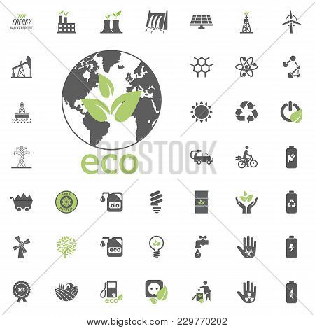Eco Planet Icon. Eco And Alternative Energy Vector Icon Set. Energy Source Electricity Power Resourc