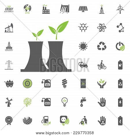 Nuclear Power Plant Icon. Eco And Alternative Energy Vector Icon Set. Energy Source Electricity Powe