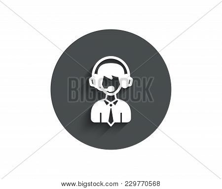 Shipping Support Simple Icon. Delivery Manager Sign. Logistics Help Symbol. Circle Flat Button With