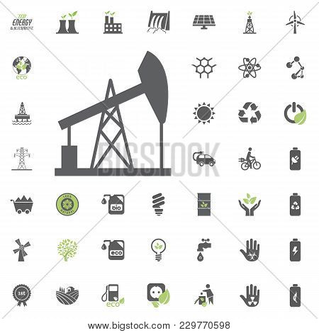 Oil Pump Icon. Eco And Alternative Energy Vector Icon Set. Energy Source Electricity Power Resource