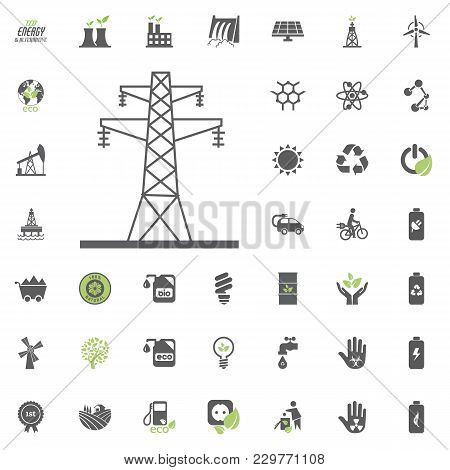 Power Towers Icon. Eco And Alternative Energy Vector Icon Set. Energy Source Electricity Power Resou
