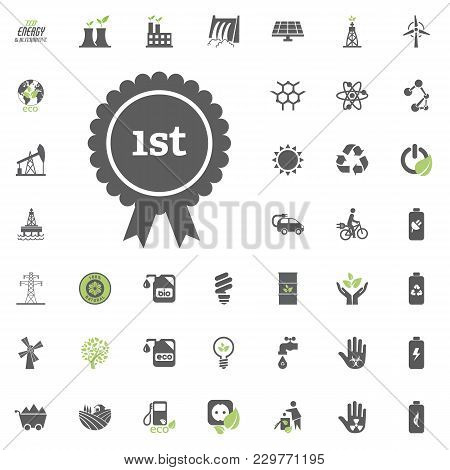 1St Place Icon. Eco And Alternative Energy Vector Icon Set. Energy Source Electricity Power Resource