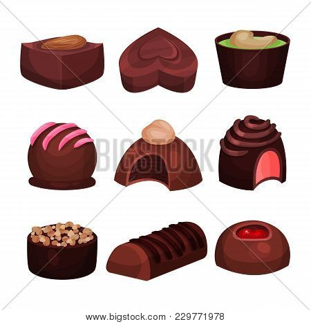Collection Of Chocolate Candies Of Various Shapes. Sweets With Different Filling. Tender Souffle. De