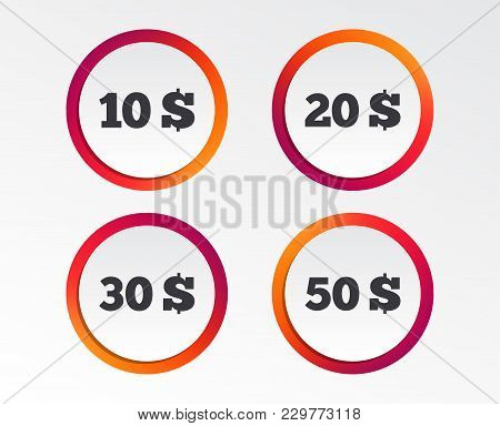 Money In Dollars Icons. 10, 20, 30 And 50 Usd Symbols. Money Signs Infographic Design Buttons. Circl