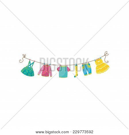 Set Of Children S Clothes On Rope Skirt With Braces, Sweater, T-shirt, Sock, Blue Jeans And Fluffy D