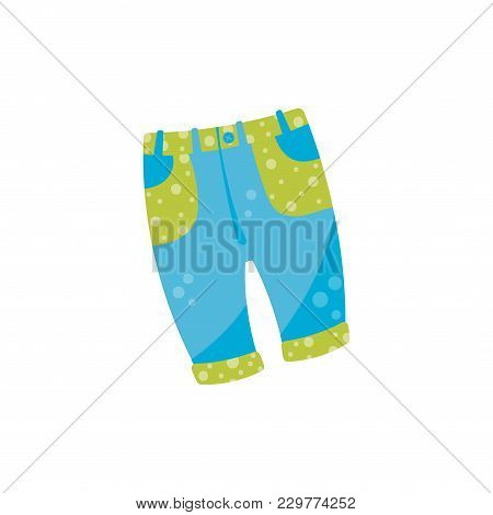 Cute Baby Denim Pants With Button And Green Pockets. Stylish Blue Jeans For Toddler Girl Or Boy. Kid