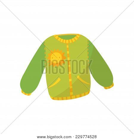 Green Warm Sweater With Pockets And Smiling Sunny Print. Children S Jumper. Cute Pullover For Toddle