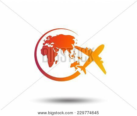 Airplane Sign Icon. Travel Trip Round The World Symbol. Blurred Gradient Design Element. Vivid Graph