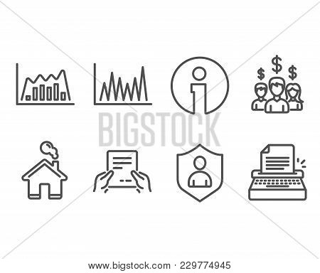 Set Of Line Graph, Infographic Graph And Receive File Icons. Salary Employees, Security And Typewrit