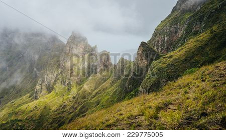 Panorama Of A Rugged Mountain Radge Overgrown With Verdant Grass. Xo-xo Valley. Santo Antao Island,